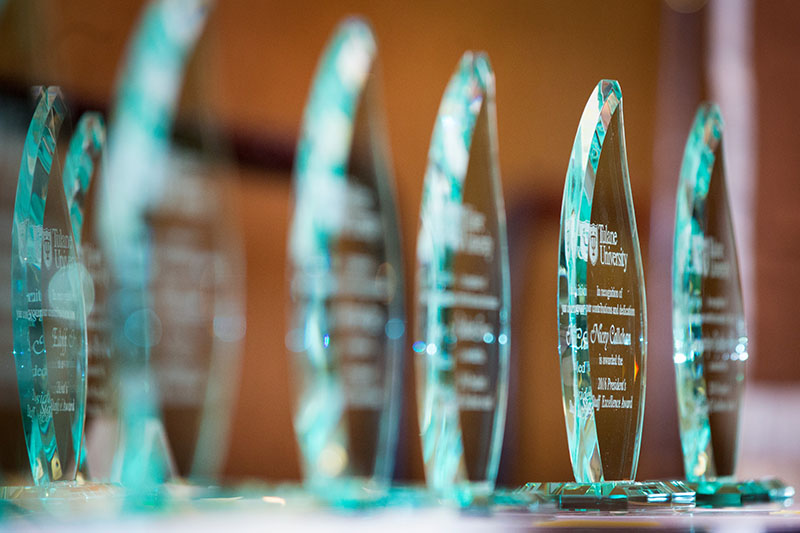 Rows of glass awards